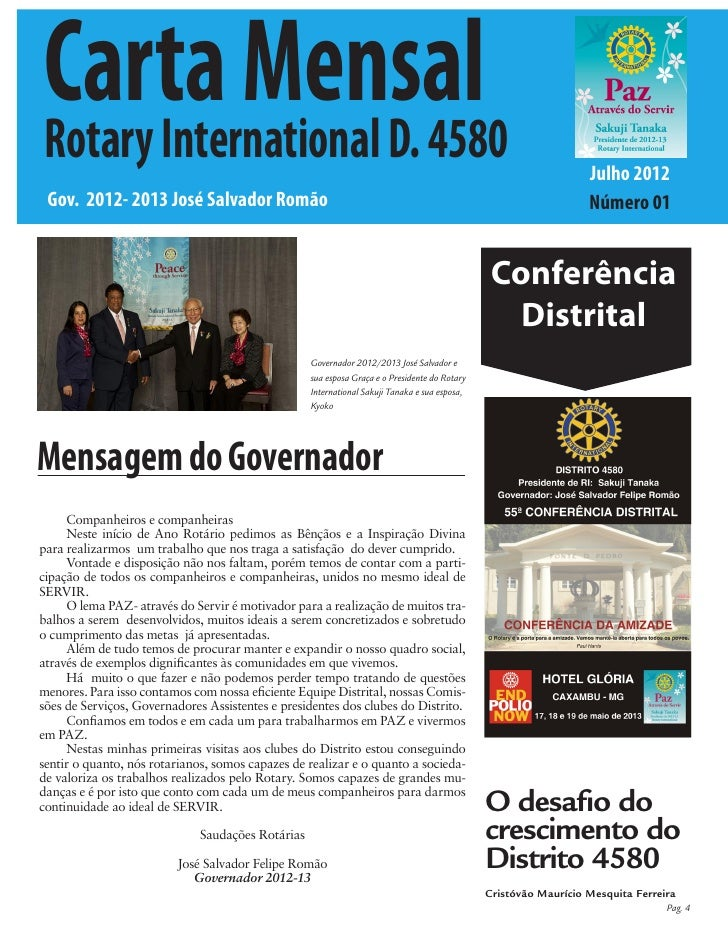 Carta MensalRotary International D. 4580                                                                                  ...