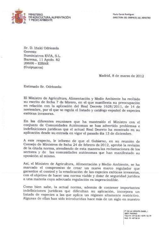 Carta ministerio agricultura