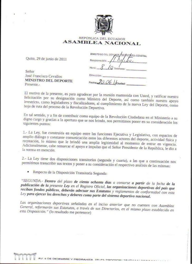Carta ministerio de deporte
