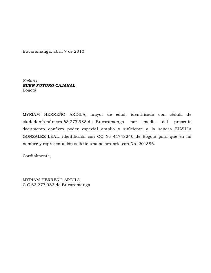 Bucaramanga, abril 7 de 2010SeñoresBUEN FUTURO-CAJANALBogotáMYRIAM HERREÑO ARDILA, mayor de edad, identificada con cédula ...