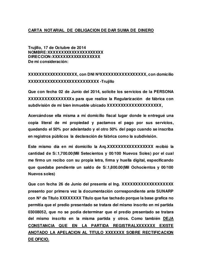 Carta Notarial De Obligacion De Dar Suma De Dinero