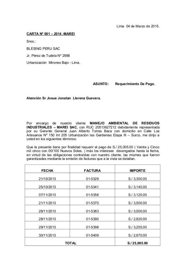 Carta Notarial Requerimiento Pago