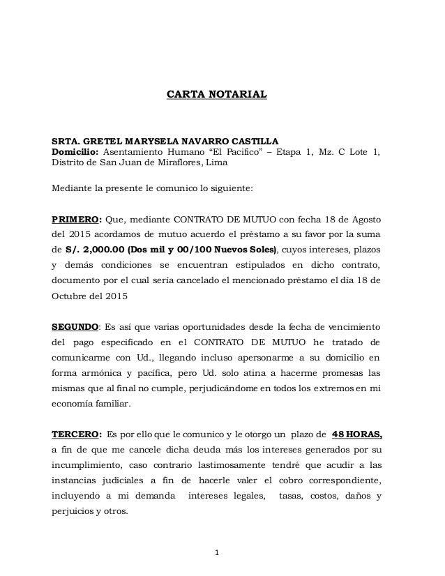 Carta Notarial Suma De Dinero Aquiles Anaya Espiritu