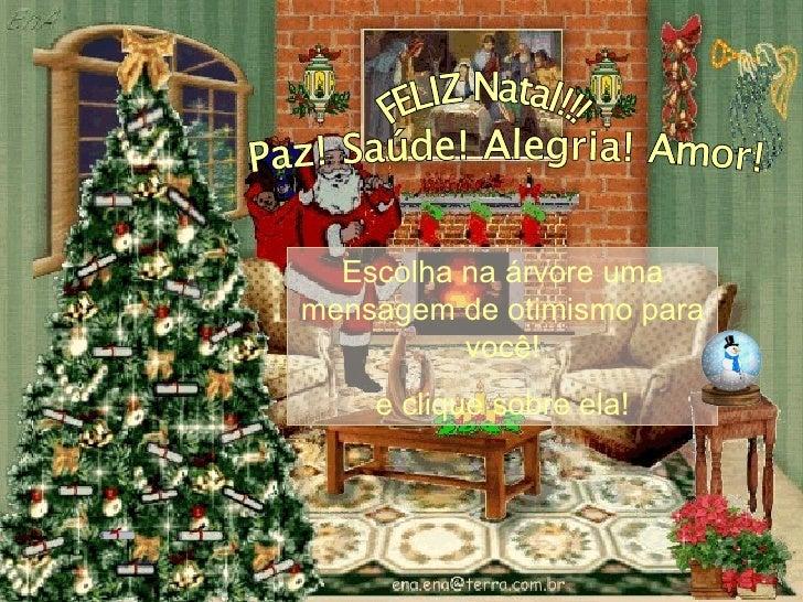 FELIZ Natal!!! Paz! Saúde! Alegria! Amor! Escolha na árvore uma mensagem de otimismo para você! e clique sobre ela !