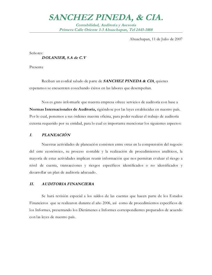SANCHEZ PINEDA, & CIA.                            Contabilidad, Auditoria y Asesoría                    Primera Calle Orie...