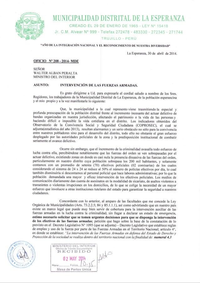 """MLTNICIPALIDAD DISTRITAL DE LA ESPERAI§ZA CREADO EL 29 DE ENERO DE 1965 - LEY I{"""" 15418 Jr. C.M. Alvear N"""" 999 - Telefax 2..."""