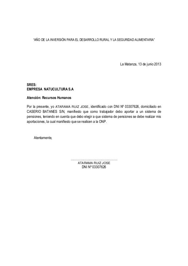 Carta onp 2013 for Modelo de contrato de trabajo de empleada domestica