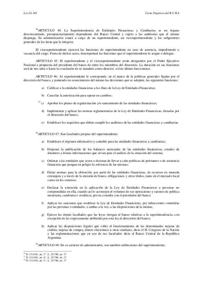 Carta orgánica Banco Central