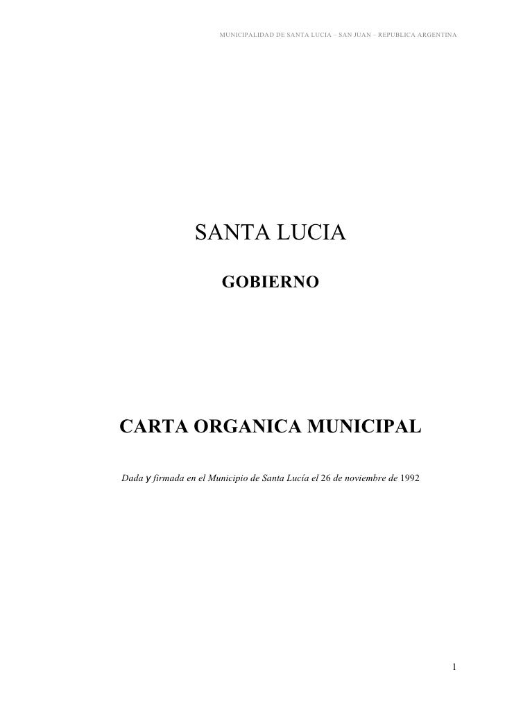 MUNICIPALIDAD DE SANTA LUCIA – SAN JUAN – REPUBLICA ARGENTINA                      SANTA LUCIA                          GO...