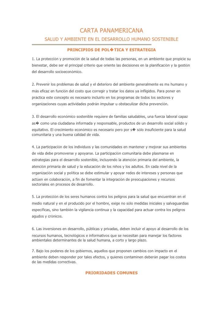 CARTA PANAMERICANA         SALUD Y AMBIENTE EN EL DESARROLLO HUMANO SOSTENIBLE                        PRINCIPIOS DE POL�TI...