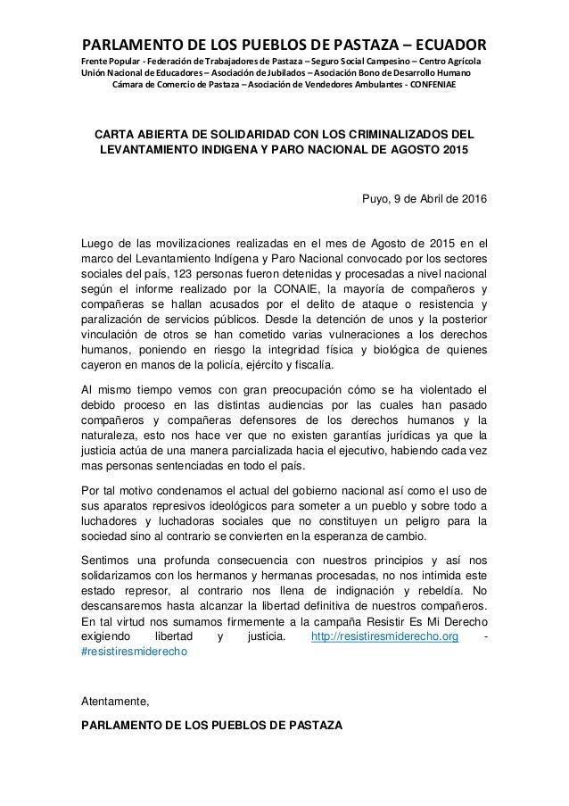 PARLAMENTO DE LOS PUEBLOS DE PASTAZA – ECUADOR Frente Popular - Federación de Trabajadores de Pastaza – Seguro Social Camp...