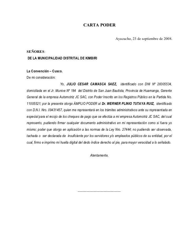 Carta de autorizacion para recoger encomienda