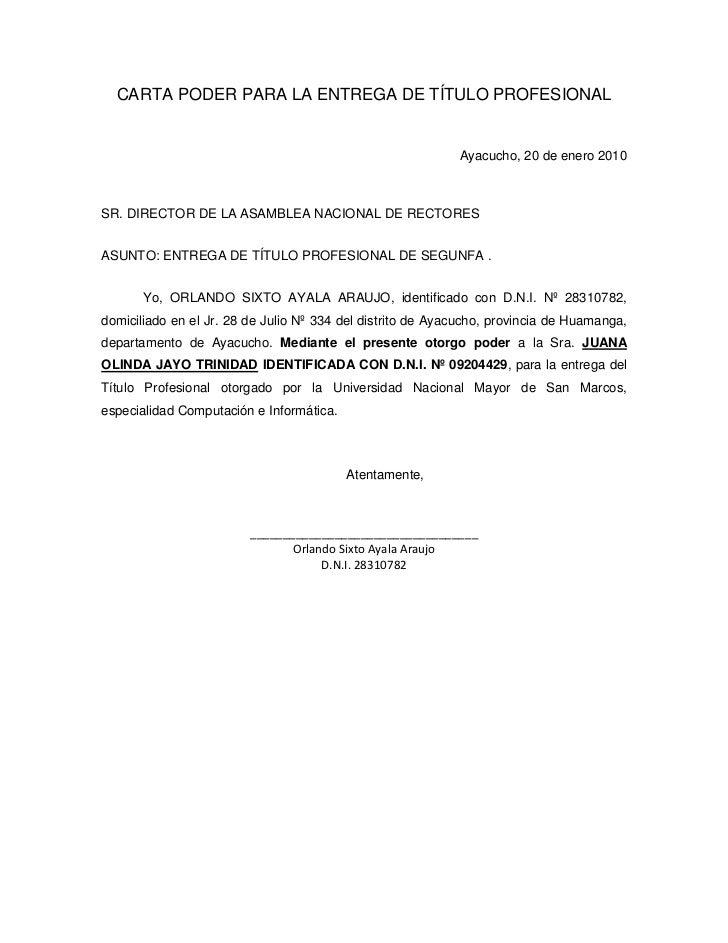 Carta poder para la entrega de t tulo profesional for Pension para universitarios