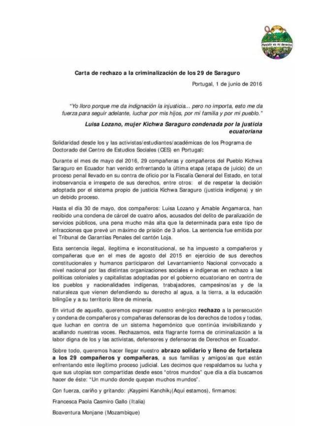 Carta de rechazo a la Criminalización de los 29 de Saraguro - Portugal