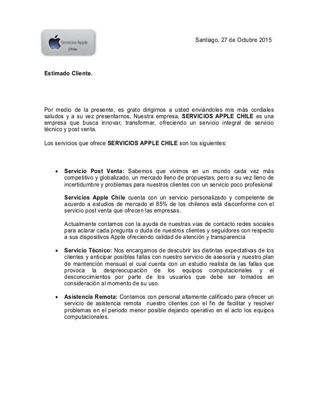 Carta Presentacion Servicios Apple Chile