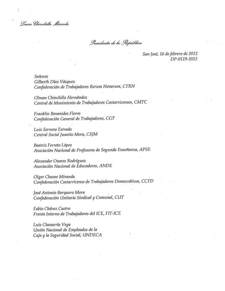 Carta de respuesta de la Presidenta de la República a los representantes sindicales.