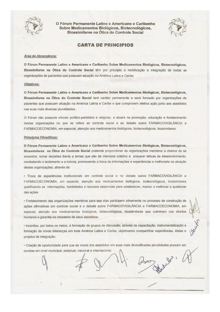 Carta princípios fórum latino americano  caribenho
