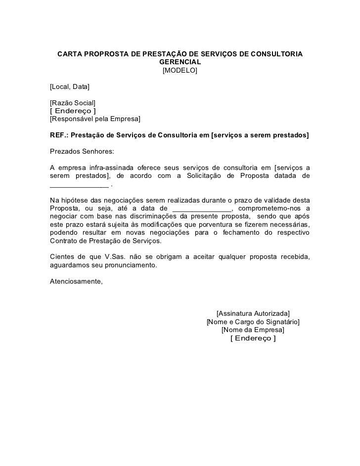 CARTA PROPROSTA DE PRESTAÇÃO DE SERVIÇOS DE CONSULTORIA                        GERENCIAL                         [MODELO][...