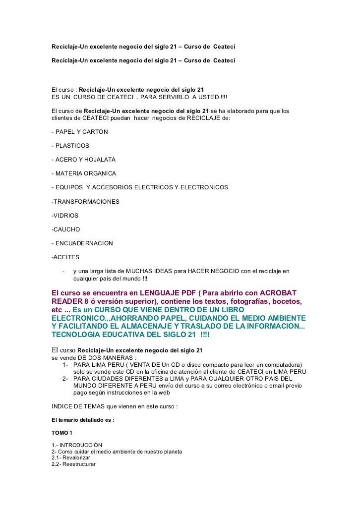 Reciclaje-Un excelente negocio del siglo 21 – Curso de CeateciReciclaje-Un excelente negocio del siglo 21 – Curso de Ceate...