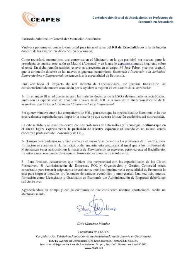 Confederación Estatal de Asociaciones de Profesores de  Economía en Secundaria  Estimado Subdirector General de Ordenación...