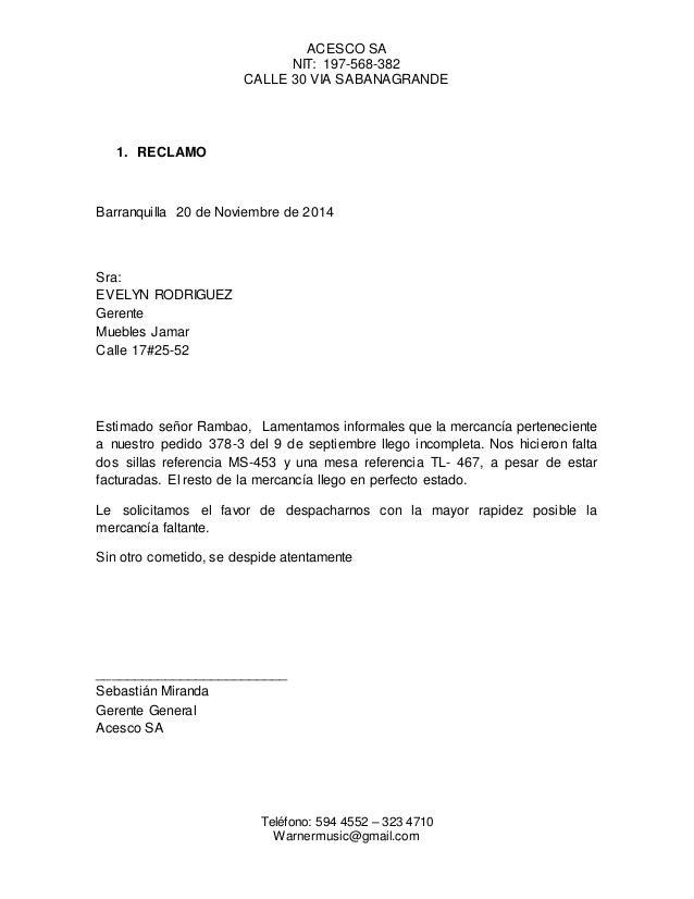 Carta de reclamacion for Solicitud clausula suelo