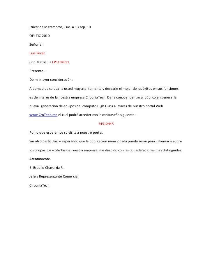 Izúcar de Matamoros, Pue. A 13 sep. 10OFI-TIC-2010Señor(a):Luis PerezCon Matricula LP5102011Presente.-De mi mayor consider...