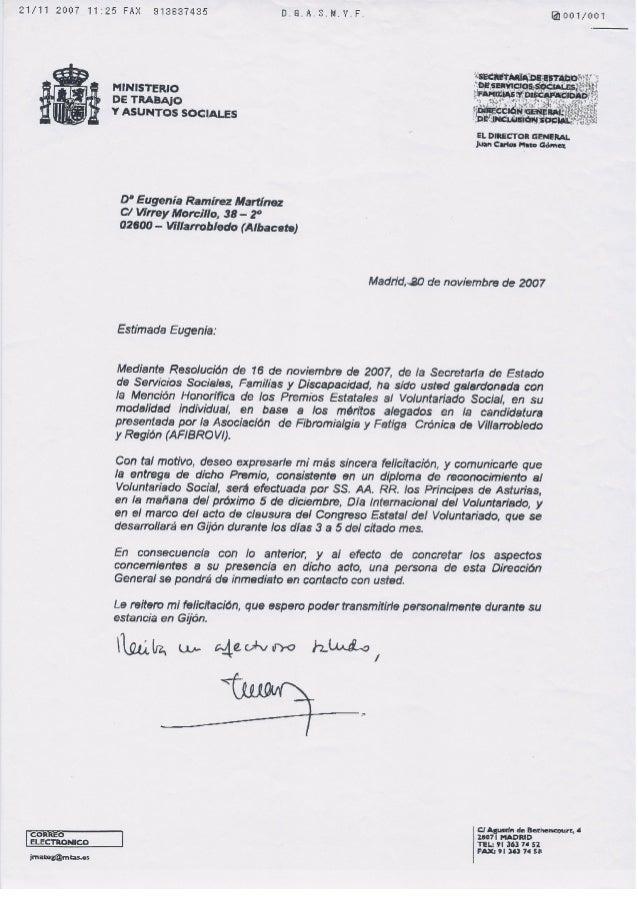 Cartas de agradecimiento recibidas en Afibrovi.