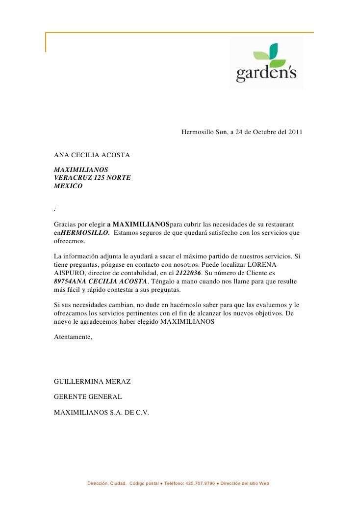 Hermosillo Son, a 24 de Octubre del 2011ANA CECILIA ACOSTAMAXIMILIANOSVERACRUZ 125 NORTEMEXICO:Gracias por elegir a MAXIMI...