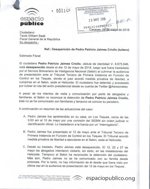 Cartas a Defensor del Pueblo y Fiscal General. Caso Pedro Patricio Jaimes Criollo