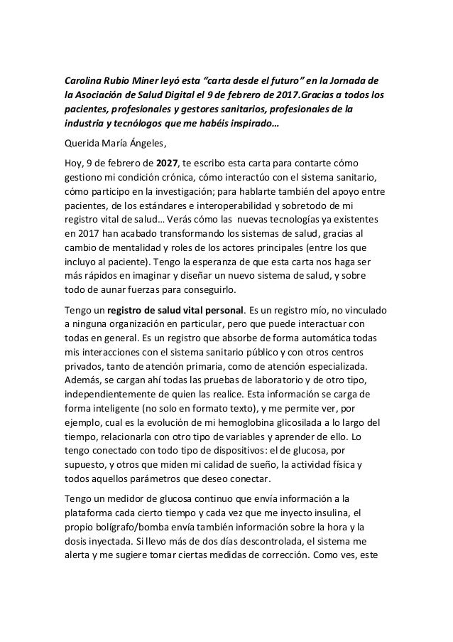 """Carolina Rubio Miner leyó esta """"carta desde el futuro"""" en la Jornada de la Asociación de Salud Digital el 9 de febrero de ..."""