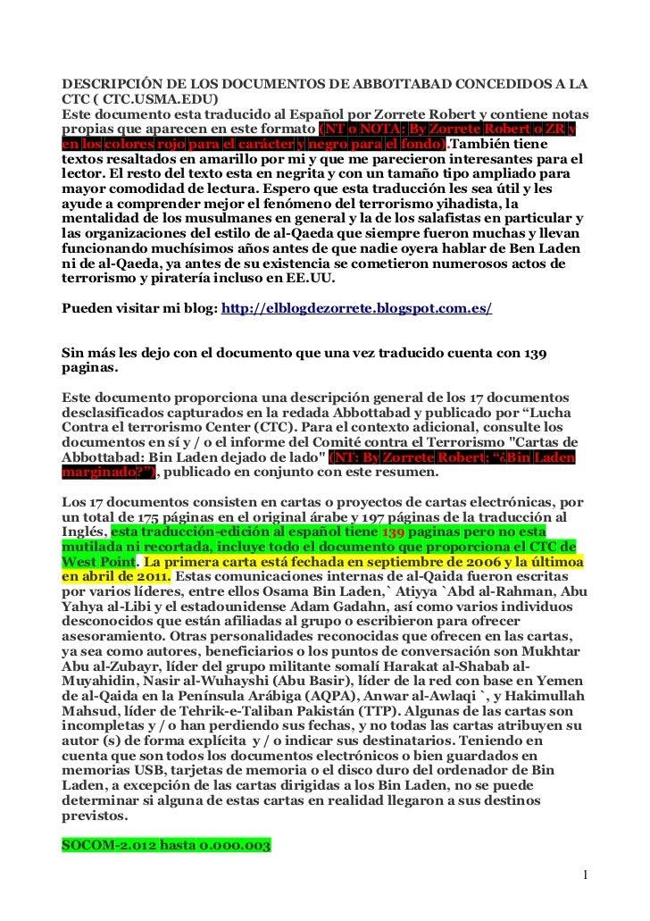 DESCRIPCIÓN DE LOS DOCUMENTOS DE ABBOTTABAD CONCEDIDOS A LACTC ( CTC.USMA.EDU)Este documento esta traducido al Español por...