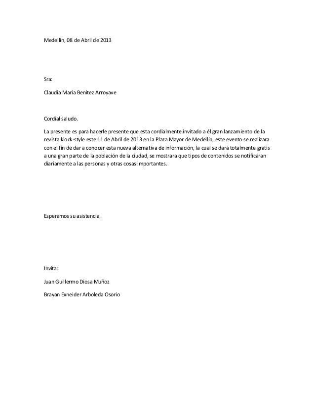 carta de invitaciones
