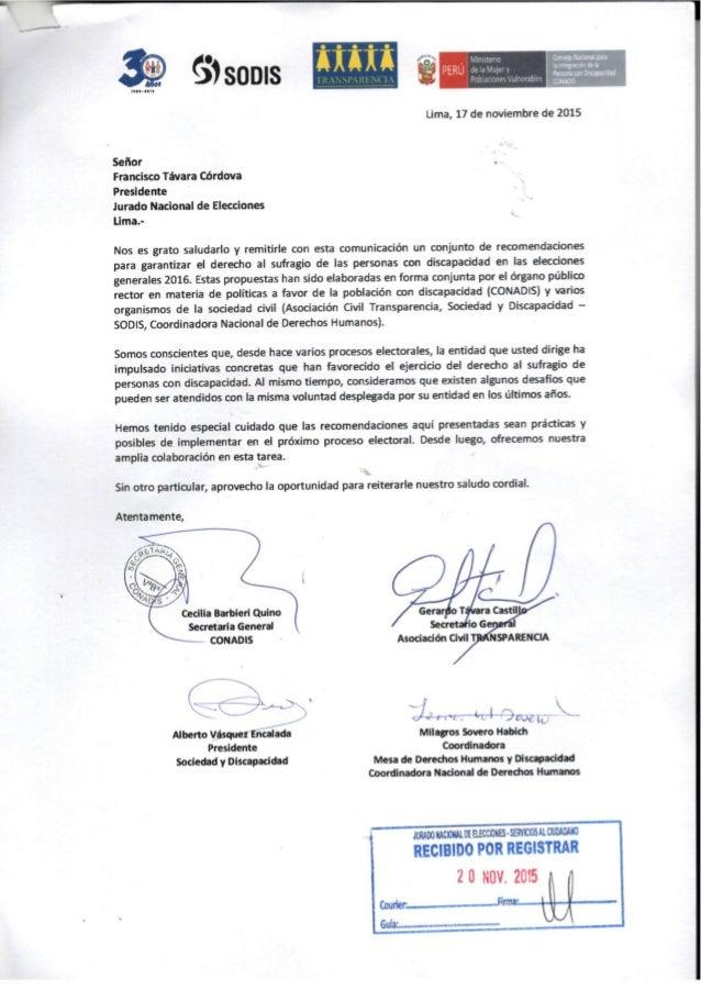 , ,  '_ A ,  . . '-= '.'- h x a  ¡ul-uu     Lima,  17 de noviembre de 2015  Señor  Francisco Távara Córdova Presidente  Ju...