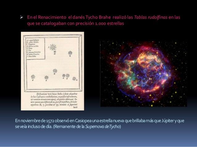  En el Renacimiento el danés Tycho Brahe realizó las Tablas rudolfinas en las    que se catalogaban con precisión 1.000 e...