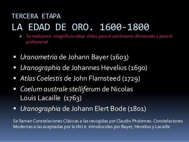 TERCERA ETAPALA EDAD DE ORO. 1600-1800   Se realizaron magníficos atlas útiles para el astrónomo aficionado y para el    ...