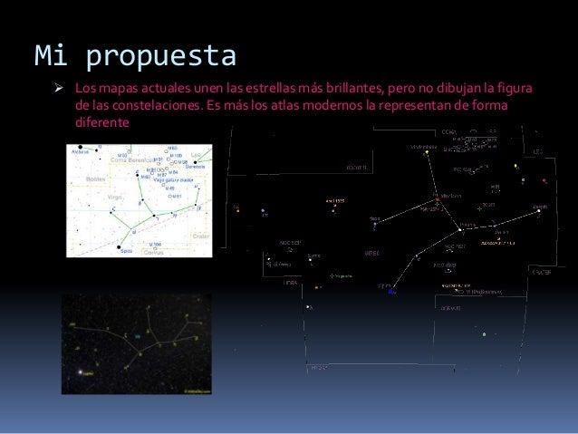 Mi propuesta  Los mapas actuales unen las estrellas más brillantes, pero no dibujan la figura   de las constelaciones. Es...