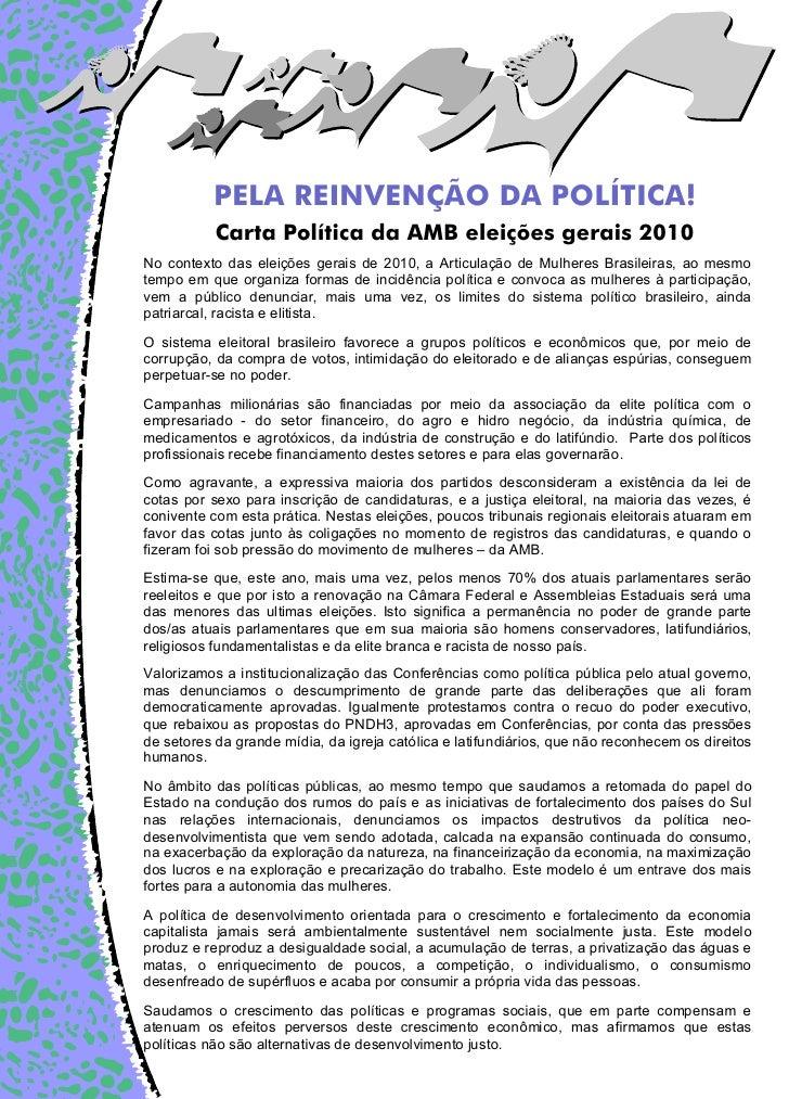 PELA REINVENÇÃO DA POLÍTICA!           Carta Política da AMB eleições gerais 2010No contexto das eleições gerais de 2010, ...