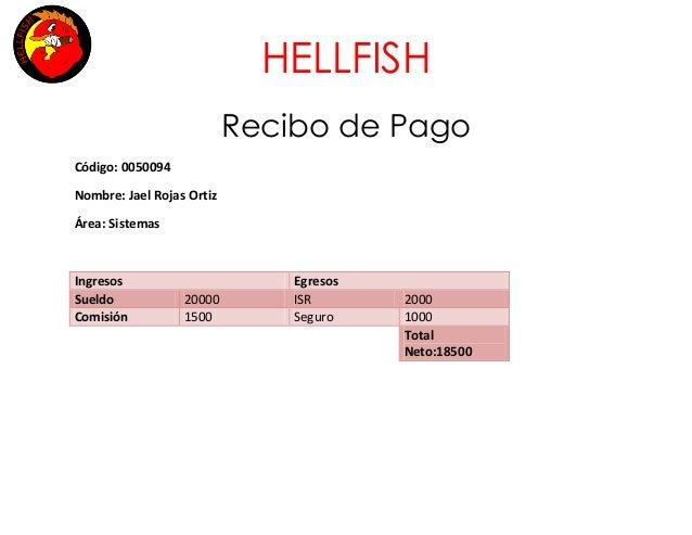 HELLFISH Recibo de Pago Código: 0050094 Nombre: Jael Rojas Ortiz Área: Sistemas  Ingresos Sueldo Comisión  20000 1500  Egr...
