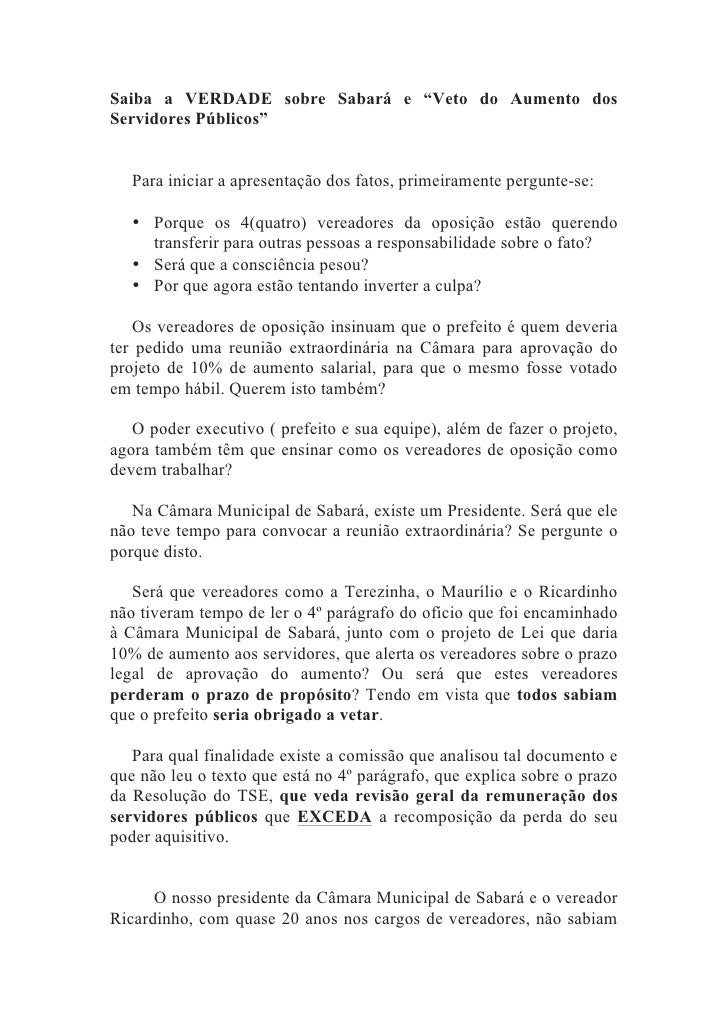 """Saiba a VERDADE sobre Sabará e """"Veto do Aumento dosServidores Públicos""""   Para iniciar a apresentação dos fatos, primeiram..."""