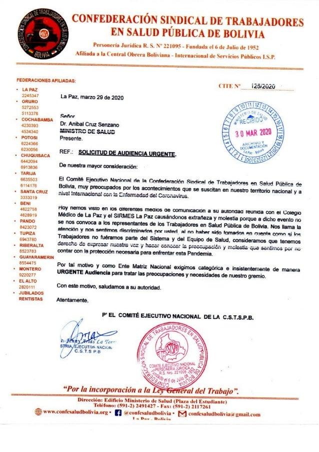 Solicitud de Audiencia Ministro de Salud