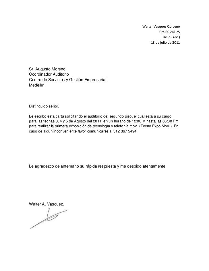 Walter Vásquez Quiceno<br />Cra 60 24ª 25<br />Bello (Ant.)<br />18 de julio de 2011<br />Sr. Augusto Moreno<br />Coordina...