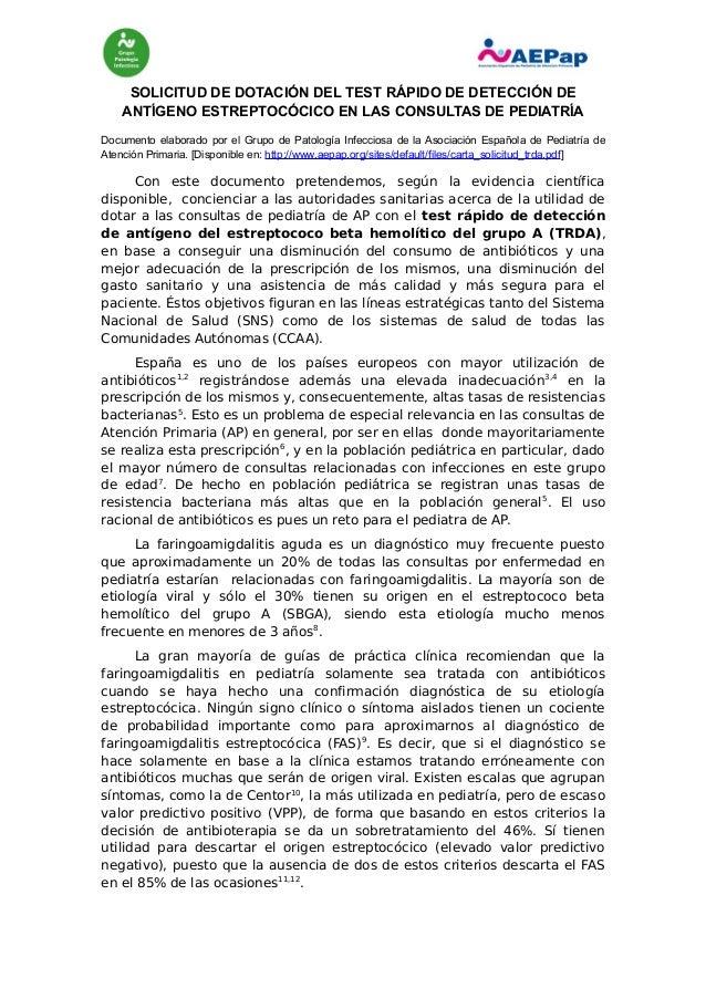 SOLICITUD DE DOTACIÓN DEL TEST RÁPIDO DE DETECCIÓN DE ANTÍGENO ESTREPTOCÓCICO EN LAS CONSULTAS DE PEDIATRÍA Documento elab...