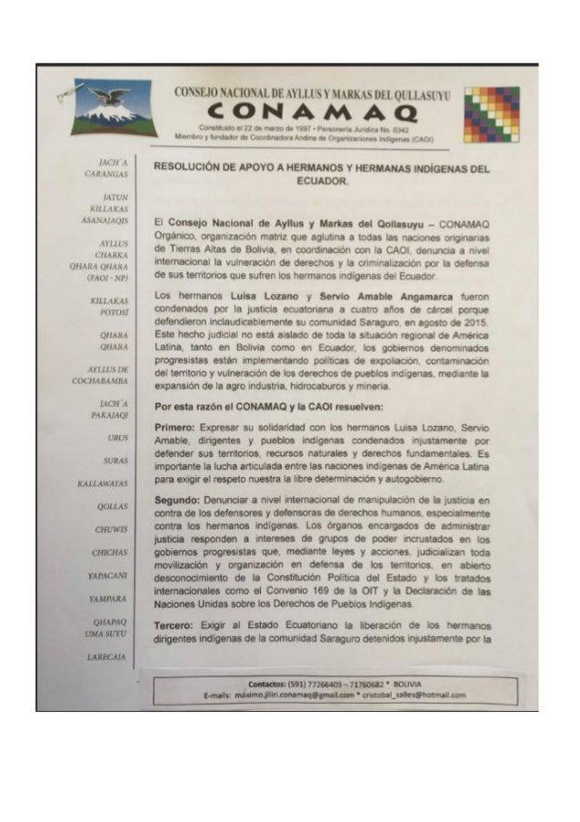 Carta solidaridad CONAMAQ con Pueblo Saraguro