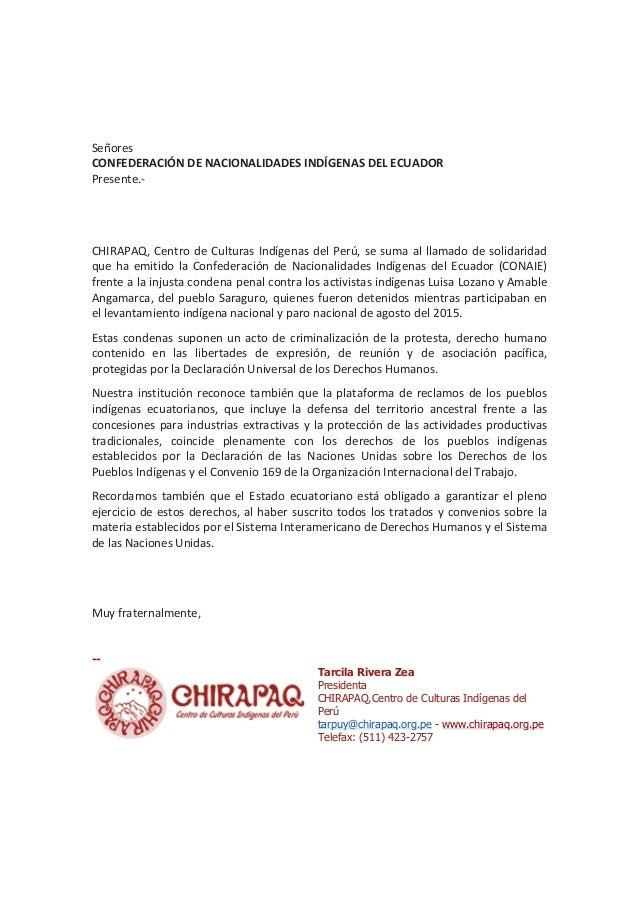 Señores CONFEDERACIÓNDENACIONALIDADESINDÍGENASDELECUADOR Presente.-   CHIRAPAQ,CentrodeCulturasIndígenasde...