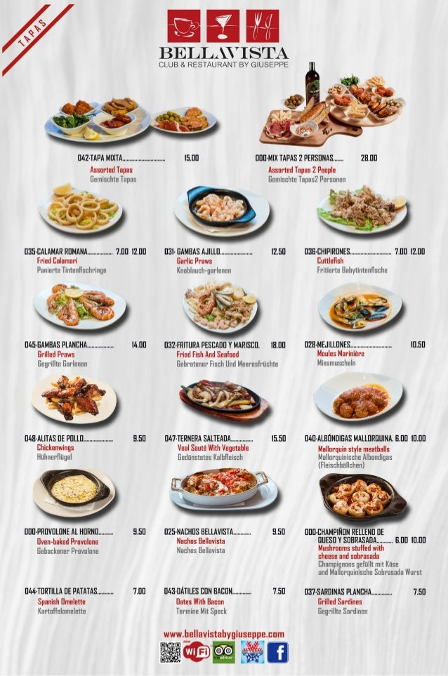 Carta tapas - Restaurante Alcudia