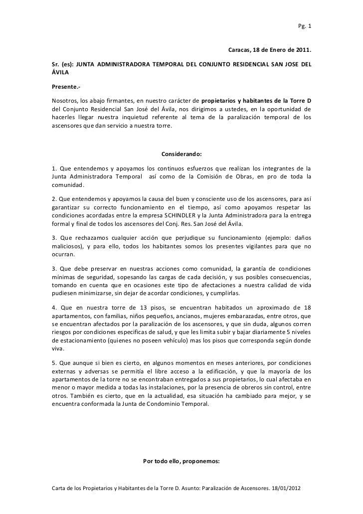 Carta torre d ascensores 180111
