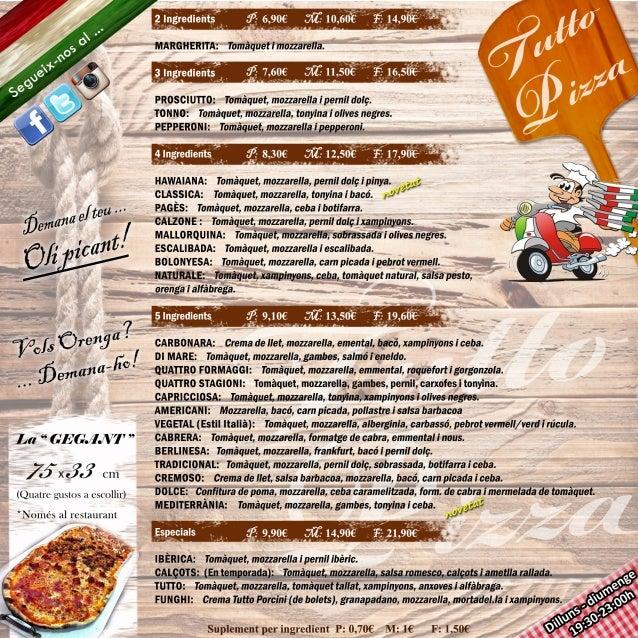 Carta tutto pizza sant quirze domicili 2017