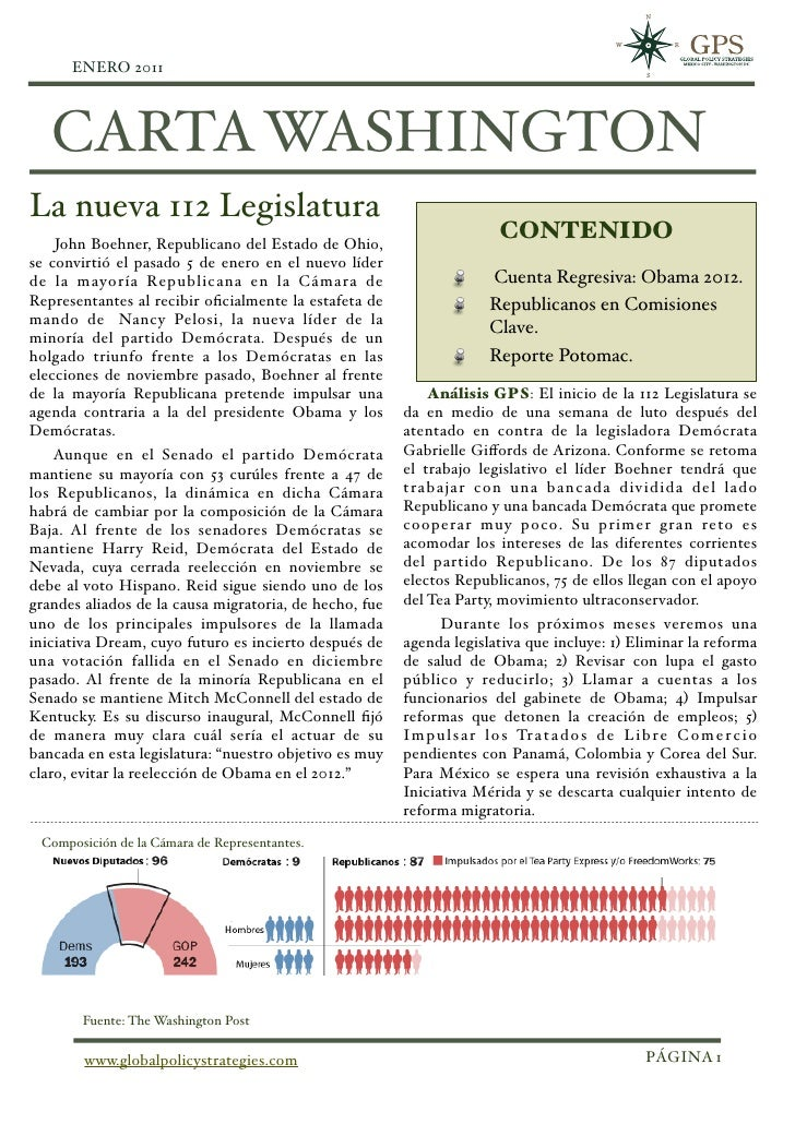 ENERO 2011!   CARTA WASHINGTONLa nueva 112 Legislatura    John Boehner, Republicano del Estado de Ohio,                   ...