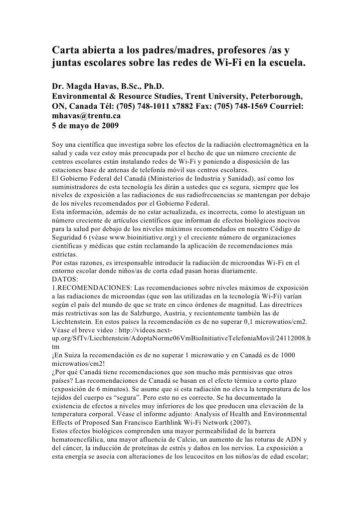 Carta abierta a los padres/madres, profesores /as y juntas escolares sobre las redes de Wi-Fi en la escuela.  Dr. Magda Ha...