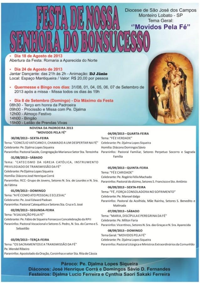 Festa Nossa Senhora do Bonsucesso - Monteiro Lobato
